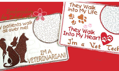 Vet Tech and Veterinarian CAREER In The Hoop Embroidered Mug Mat/Mug Rug.  Easy and quick to stitch.  - Digital File - Instant Download - Embroidery by EdytheAnne - 1