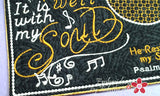 IT IS WELL With My Soul Musical Embroidered Mug Mat/Mug Rug done In The Hoop.  - Digital File - Instant Download - Embroidery by EdytheAnne - 2