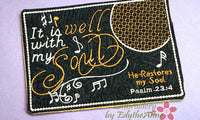 IT IS WELL With My Soul Musical Embroidered Mug Mat/Mug Rug done In The Hoop.  - Digital File - Instant Download