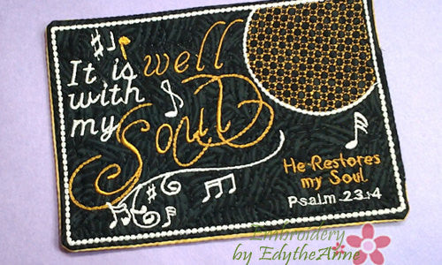 IT IS WELL With My Soul Musical Embroidered Mug Mat/Mug Rug done In The Hoop.  - Digital File - Instant Download - Embroidery by EdytheAnne - 1