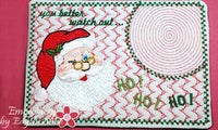 YOU BETTER WATCH OUT! SANTA WINK MUG MAT/MUG RUG- IN THE HOOP -INSTANT DOWNOAD