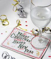 FESTIVE Merry Christmas & Happy New Year In The Hoop Mug Mat/Mug Rug -DIGITAL DOWNLOAD