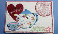 VINTAGE TEA POT In The Hoop Embroidered Mug Mat. You are my cup of tea.  - Digital File