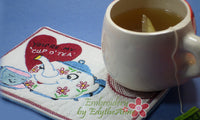 VINTAGE TEA POT In The Hoop Embroidered Mug Mat. You are my cup of tea.  - Digital File - Instant Download - Embroidery by EdytheAnne - 2