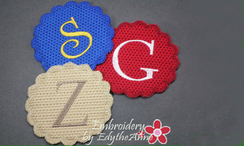 MONOGRAM COASTER Set of 26  In The Hoop Machine Embroidery Design. Digital File. Available immediately. - Embroidery by EdytheAnne - 1