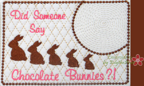 CHOCOLATE BUNNIES Whimsical In The Hoop Embroidered Mug Mat Designs.   - Digital File - Instant Download - Embroidery by EdytheAnne - 1