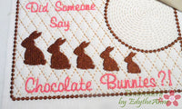 CHOCOLATE BUNNIES Whimsical In The Hoop Embroidered Mug Mat Designs.   - Digital File - Instant Download - Embroidery by EdytheAnne - 2