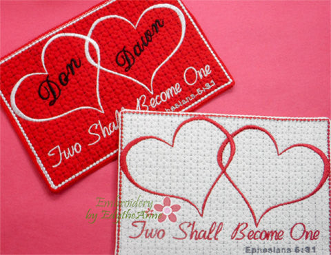 Two Shall Become One In The Hoop Embroidered Mug Mat/Mug Rug.   - Digital File - Instant Download - Embroidery by EdytheAnne - 1