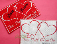 Two Shall Become One In The Hoop Embroidered Mug Mat/Mug Rug.   - Digital File - Instant Download