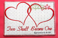 Two Shall Become One In The Hoop Embroidered Mug Mat/Mug Rug.   - Digital File - Instant Download - Embroidery by EdytheAnne - 2