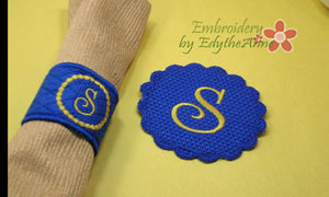 MONOGRAM NAPKIN RINGS -  Two Sets of 26 each  In The Hoop Embroidery INSTANT DOWNLOAD - Embroidery by EdytheAnne - 1