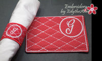 MONOGRAM NAPKIN RINGS -  Two Sets of 26 each  In The Hoop Embroidery INSTANT DOWNLOAD - Embroidery by EdytheAnne - 2