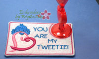YOU are MY TWEETIE Valentine In The Hoop Embroidered Mug Mat using a Dimensional Foam technique.  - Digital File - Instant Download - Embroidery by EdytheAnne - 3