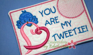 YOU are MY TWEETIE Valentine In The Hoop Embroidered Mug Mat using a Dimensional Foam technique.  - Digital File - Instant Download - Embroidery by EdytheAnne - 1