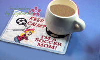 SOCCER MOM WHIMSICAL In The Hoop Embroidered Mug Mat/Mug Rug w/Special Interest Tag.Easy to stitch.  - Digital File - Instant Download - Embroidery by EdytheAnne - 4
