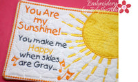 YOU are MY SUNSHINE  In The Hoop Whimsical Embroidered Mug Mats/Mug Rugs.   - Digital File - Instant Download - Embroidery by EdytheAnne - 4