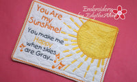 YOU are MY SUNSHINE  In The Hoop Whimsical Embroidered Mug Mats/Mug Rugs.   - Digital Download