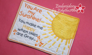 YOU are MY SUNSHINE  In The Hoop Whimsical Embroidered Mug Mats/Mug Rugs.   - Digital File - Instant Download - Embroidery by EdytheAnne - 1