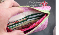 Built In CREDIT CARD WALLET Wristlet Zippered Bags Set of Two  INSTANT DOWNLOAD - Embroidery by EdytheAnne - 2