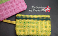 Built In CREDIT CARD WALLET Wristlet Zippered Bags Set of Two  INSTANT DOWNLOAD - Embroidery by EdytheAnne - 4