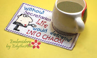 SET of 3 WHIMSICAL RECEPTIONIST Mug Mat/Mug Rugs. Also includes Secretary & Admin versions. Quick and Easy. Digital Files. - Embroidery by EdytheAnne - 2