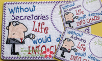 SET of 3 WHIMSICAL RECEPTIONIST Mug Mat/Mug Rugs. Also includes Secretary & Admin versions. Quick and Easy. Digital Files.
