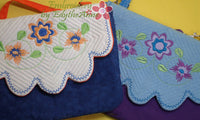PENELOPE'S GARDEN Scalloped Flap Bag.w/ Built in  Credit Card Wallet. INSTANT DOWNLOAD - Embroidery by EdytheAnne - 4