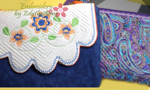 PENELOPE'S GARDEN Scalloped Flap Bag.w/ Built in  Credit Card Wallet. INSTANT DOWNLOAD - Embroidery by EdytheAnne - 1