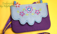 PENELOPE'S GARDEN Scalloped Flap Bag.w/ Built in  Credit Card Wallet. INSTANT DOWNLOAD - Embroidery by EdytheAnne - 3