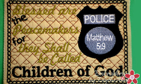 POLICE OFFICER  In The Hoop Machine Embroidered Mug Mat/Mug Rug. - Embroidery by EdytheAnne - 1