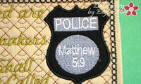 POLICE OFFICER  In The Hoop Machine Embroidered Mug Mat/Mug Rug. - Embroidery by EdytheAnne - 2