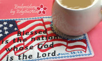 .July 4th In The Hoop Patriotic SET OF 4 MUG MAT SET- INSTANT DOWNLOAD - Embroidery by EdytheAnne - 4