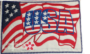 USA FOURTH of JULY  In The Hoop Mug Mat/Mug Rug.  - Digital File - Instant Download - Embroidery by EdytheAnne