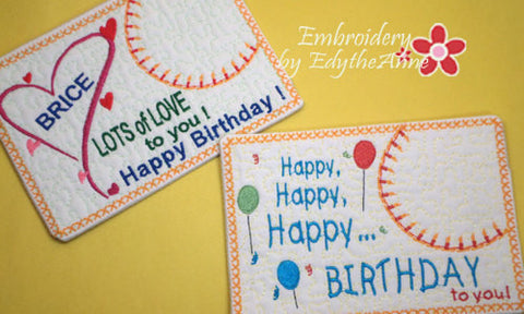 HAPPY BIRTHDAY SET of Two In The Hoop Embroidered Mug Mat/Mug Rug Designs.   - Digital File - Instant Download - Embroidery by EdytheAnne - 1