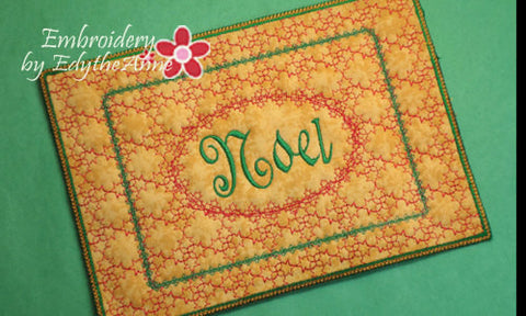 NOEL MUG MAT/Mug Rug Mug with Satin Edge - Instant Download. - Embroidery by EdytheAnne - 1