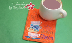 JAVA QUEEN  Mug Mat/Mug Rug In The Hoop Embroidery Design.Digital File.Available immediately.  No shipping charges - Embroidery by EdytheAnne - 1