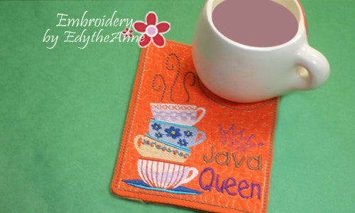 JAVA QUEEN Mug Mat/Mug Rug In The Hoop Embroidery Design.Digital  File.Available immediately. No shipping charges