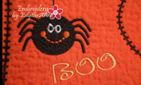 BOO! Whimsical Halloween.In The Hoop Embroidered Mug Mat/Mug Rug.  Digital File. Available immediately. - Embroidery by EdytheAnne - 3