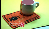 BOO! Whimsical Halloween.In The Hoop Embroidered Mug Mat/Mug Rug.  Digital File. Available immediately. - Embroidery by EdytheAnne - 2
