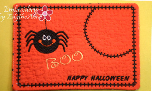 BOO! Whimsical Halloween.In The Hoop Embroidered Mug Mat/Mug Rug.  Digital File. Available immediately. - Embroidery by EdytheAnne - 1