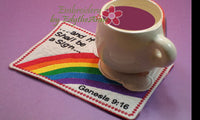 FAITH BASED IIn The Hoop Mug Mat/Mug Rug - God's Rainbow Covenant - Embroidery by EdytheAnne - 2