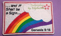 FAITH BASED IIn The Hoop Mug Mat/Mug Rug - God's Rainbow Covenant - Embroidery by EdytheAnne - 1