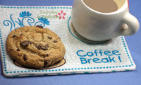 COFFEE BREAK Machine Embroidered Mug Mat/Mug Rug - 2  Sizes included- INSTANT DOWNLOAD - Embroidery by EdytheAnne - 4