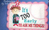 IT'S TOO EARLY WHIMSICAL MUG MAT Available in two sizes. INSTANT DOWNLOAD - Embroidery by EdytheAnne - 2