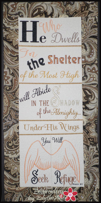 PSALM 91 He Who Dwells...WALL HANGING-  In The Hoop Machine Embroidery