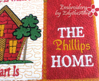HOME IS WHERE THE HEART IS Mug Mat/Mug Rug  In The Hoop Machine Embroidery
