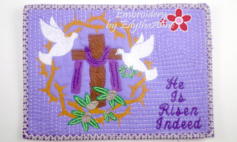 HE IS RISEN INDEED In The Hoop Faith Based Embroidered Mug Mats/Mug Rugs-Instant Download