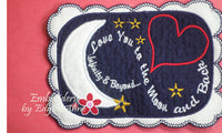 LOVE YOU TO THE MOON... In The Hoop Embroidered Mug Mats/Mug Rugs.  Digital File.Available immediately.