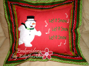 SNOWMAN APPLIQUE PILLOW PROJECT MITERED FLANGE - Embroidery by EdytheAnne - 1
