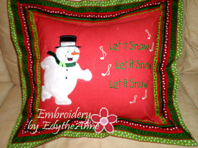 SNOWMAN APPLIQUE PILLOW PROJECT MITERED FLANGE Intermediate-Advanced - Embroidery by EdytheAnne - 1